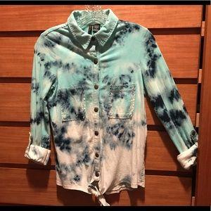 Ombré Tie Dye Button Down Collared Shirt